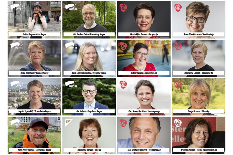 Kollasj av positive ordførerkandidater